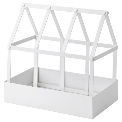 SENAPSKÅL Decoration greenhouse, in/outdoor white, 29 cm