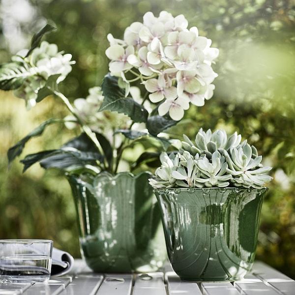 SHARONFRUKT Plant pot, in/outdoor green, 12 cm