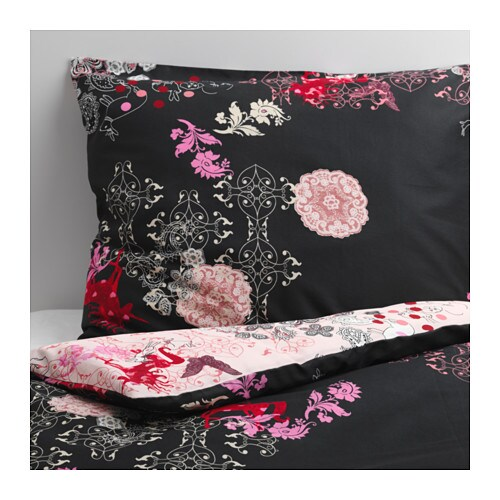 SILKESLEN Quilt cover and pillowcase IKEA Cotton satin with high lustre feels soft against the skin.  Quilt cover with contrasting sides.