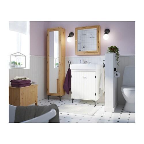 SILVERÅN High cabinet with mirror door - white - IKEA