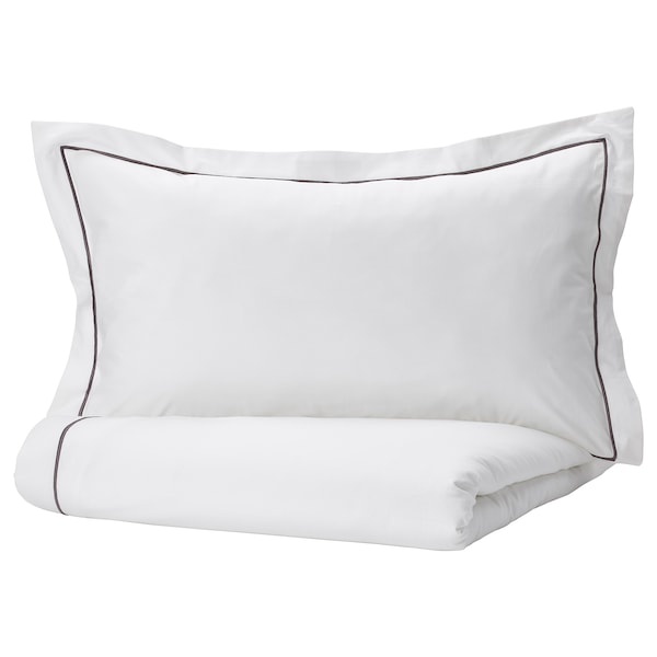 SILVERTISTEL Duvet cover and pillowcase, white/dark grey, 150x200/50x80 cm