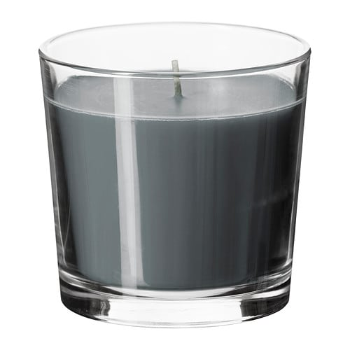 SINNLIG Scented candle in glass IKEA Creates atmosphere with a pleasant scent of calming spa and warm candlelight.