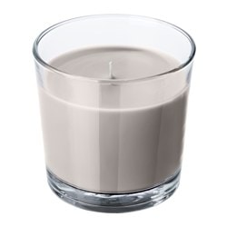 SINNLIG scented candle in glass, Nutmeg and vanilla, grey