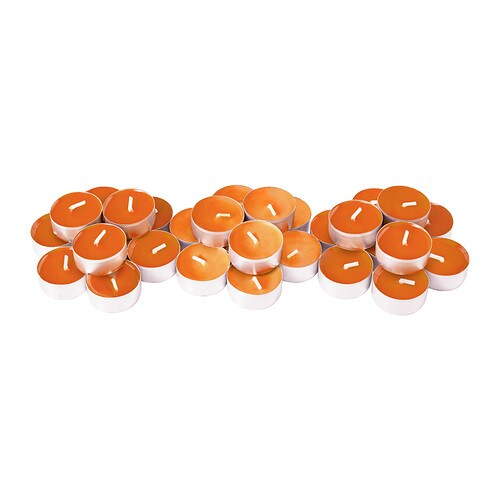 SINNLIG Scented tealight IKEA Creates atmosphere with a pleasant scent of tangerine sunshine and warm candlelight.
