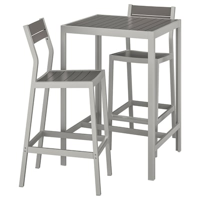 SJÄLLAND Bar table and 2 bar stools, outdoor, dark grey/light grey
