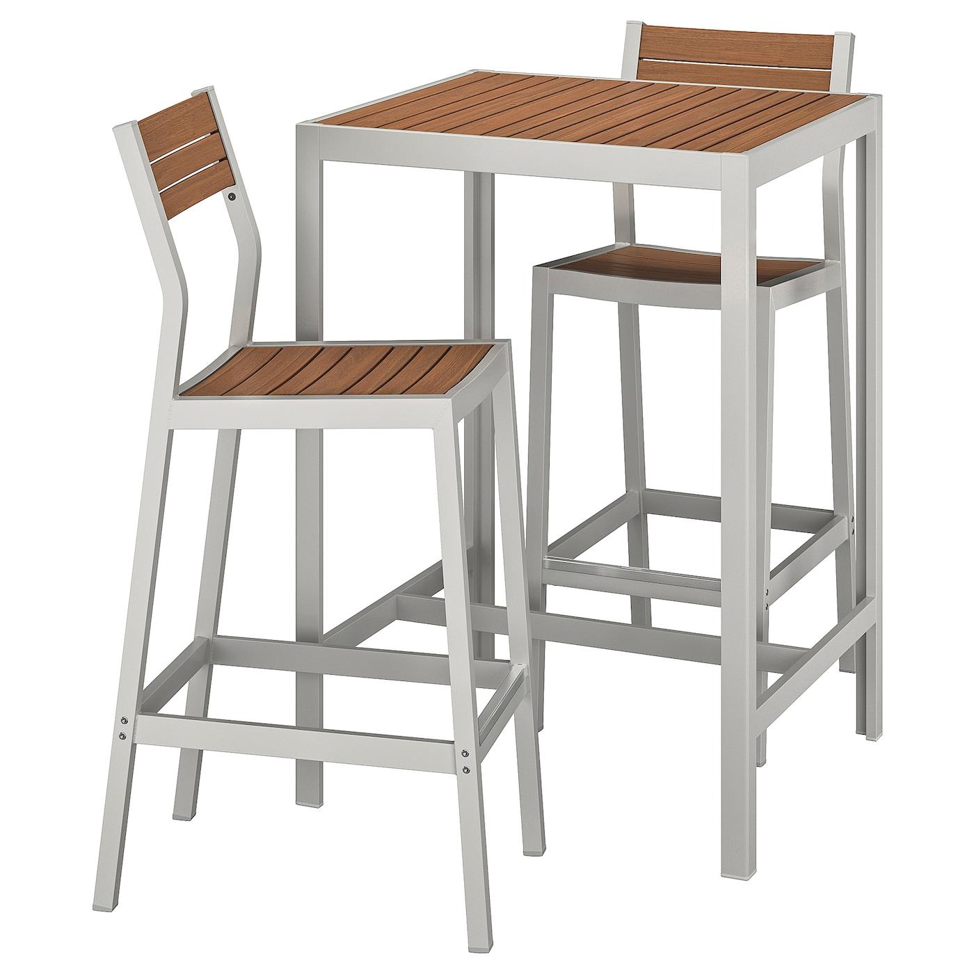 Image of: Sjalland Bar Table And 2 Bar Stools Outdoor Light Brown Light Grey Ikea