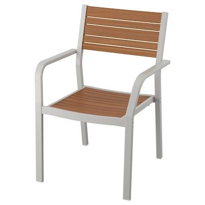 SJÄLLAND Chair with armrests, outdoor, light grey/light brown