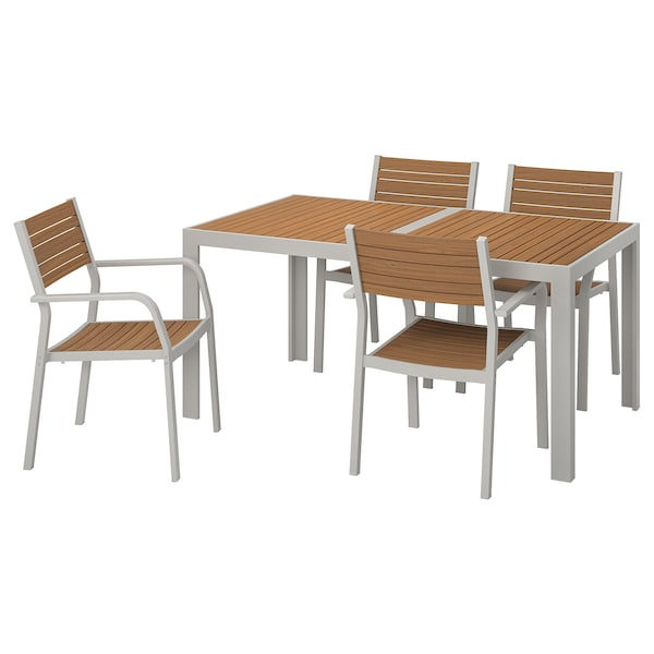 SJÄLLAND Table+4 chairs w armrests, outdoor, light brown/light grey, 156x90 cm