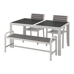 SJÄLLAND table+2 chairs+ bench, outdoor, glass grey, light grey