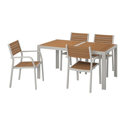 Tavolino Dave Ikea.Sjalland Table 4 Chairs W Armrests Outdoor Light Brown Light Grey