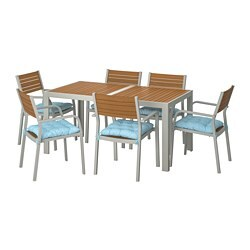 SJÄLLAND table+6 chairs w armrests, outdoor, light brown, Kuddarna light blue blue