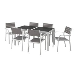 SJÄLLAND table+6 chairs w armrests, outdoor, glass grey, light grey