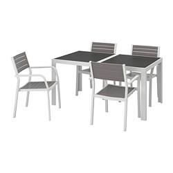 SJÄLLAND table+4 chairs w armrests, outdoor, glass grey, light grey