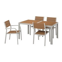 SJÄLLAND table+4 chairs w armrests, outdoor, light brown, light grey
