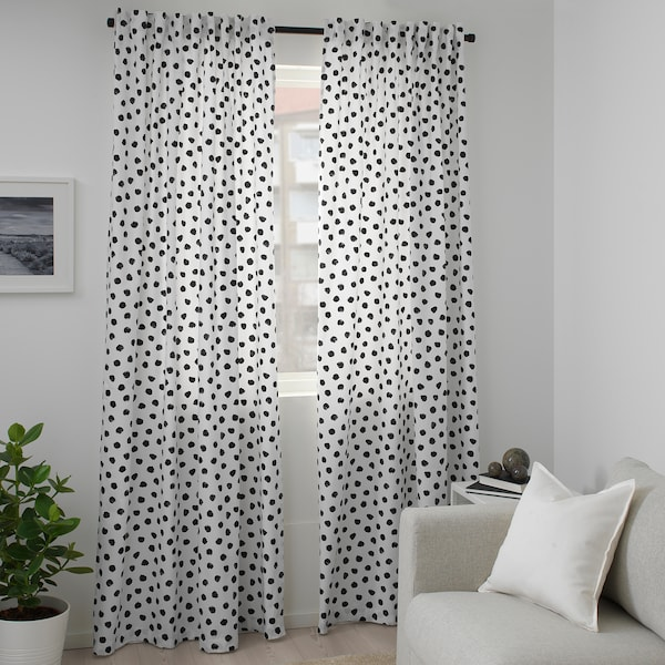 SKÄGGÖRT Fabric, white/black, 150 cm