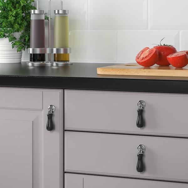 SKÄRHAMN Drop handle, black/chrome-plated, 20 mm