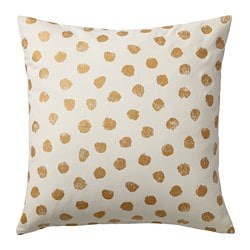 SKÄGGÖRT cushion cover, white/gold-colour
