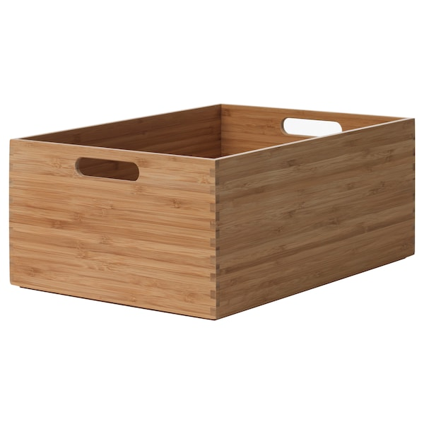 SKAKARE Storage box, bamboo, 26x35x15 cm