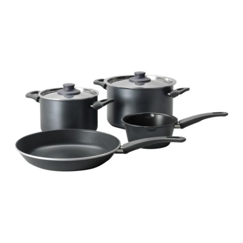 SKÄNKA 6-piece cookware set IKEA Comfortable handles make the cookware easy to lift.
