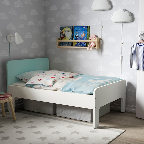SLÄKT Ext bed frame with slatted bed base, white/pale turquoise, 91x190 cm