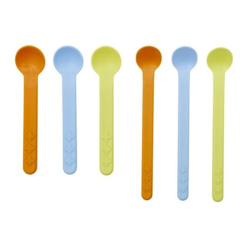SMASKA 6-piece feeding/baby spoon set IKEA The small spoon is easy for babies to hold when learning to eat by themselves.