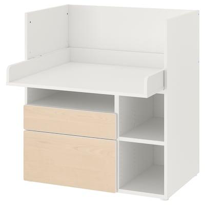 SMÅSTAD Desk, white birch/with 2 drawers, 90x79x100 cm