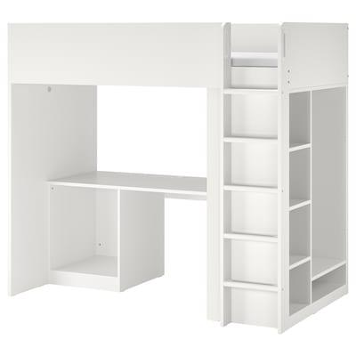 SMÅSTAD Loft bed frame w desk and storage, white, Single
