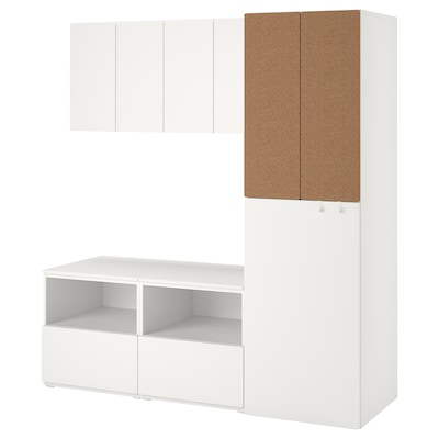 SMÅSTAD Storage combination, white cork/with pull-out, 180x57x196 cm