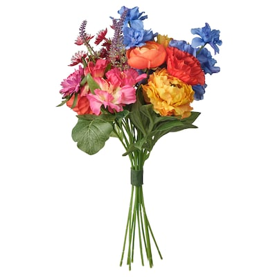 SMYCKA Artificial bouquet, in/outdoor blue/red/yellow/pink, 41 cm