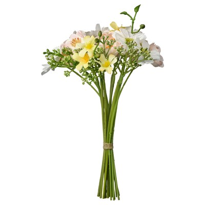 SMYCKA Artificial bouquet, in/outdoor light pink/yellow/white, 23 cm