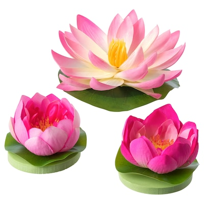 SMYCKA Floating artificial flower set of 3, in/outdoor Water lilies