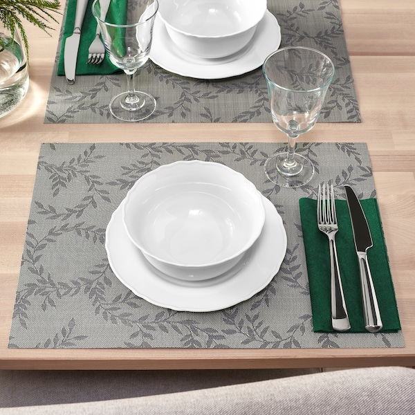 SNOBBIG Place mat, patterned/grey, 45x33 cm