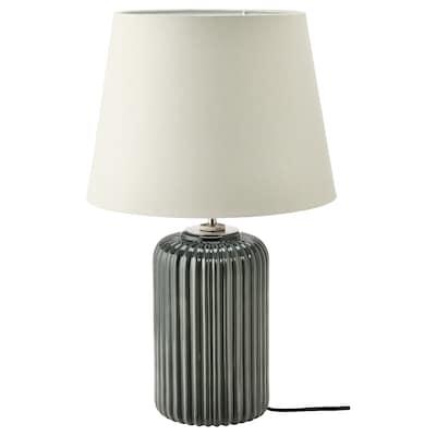 SNÖBYAR Table lamp, grey-turquoise ceramic/grey, 52 cm