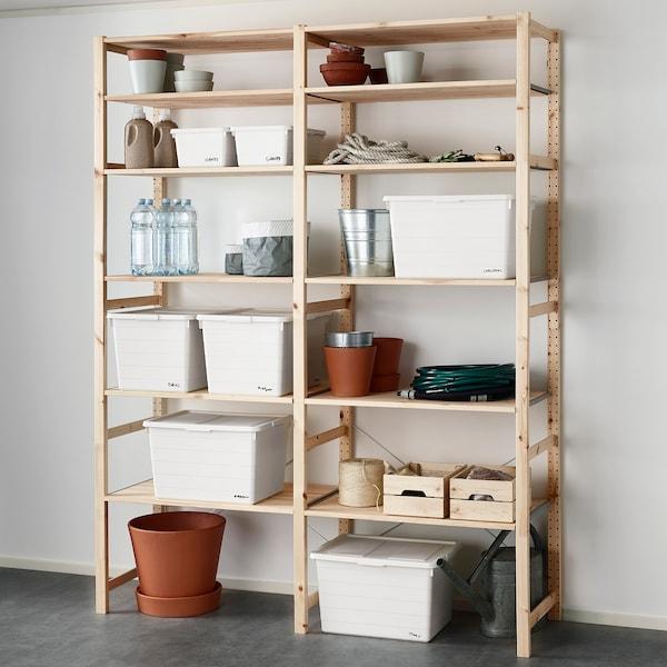 SOCKERBIT Box with lid, white, 38x51x30 cm