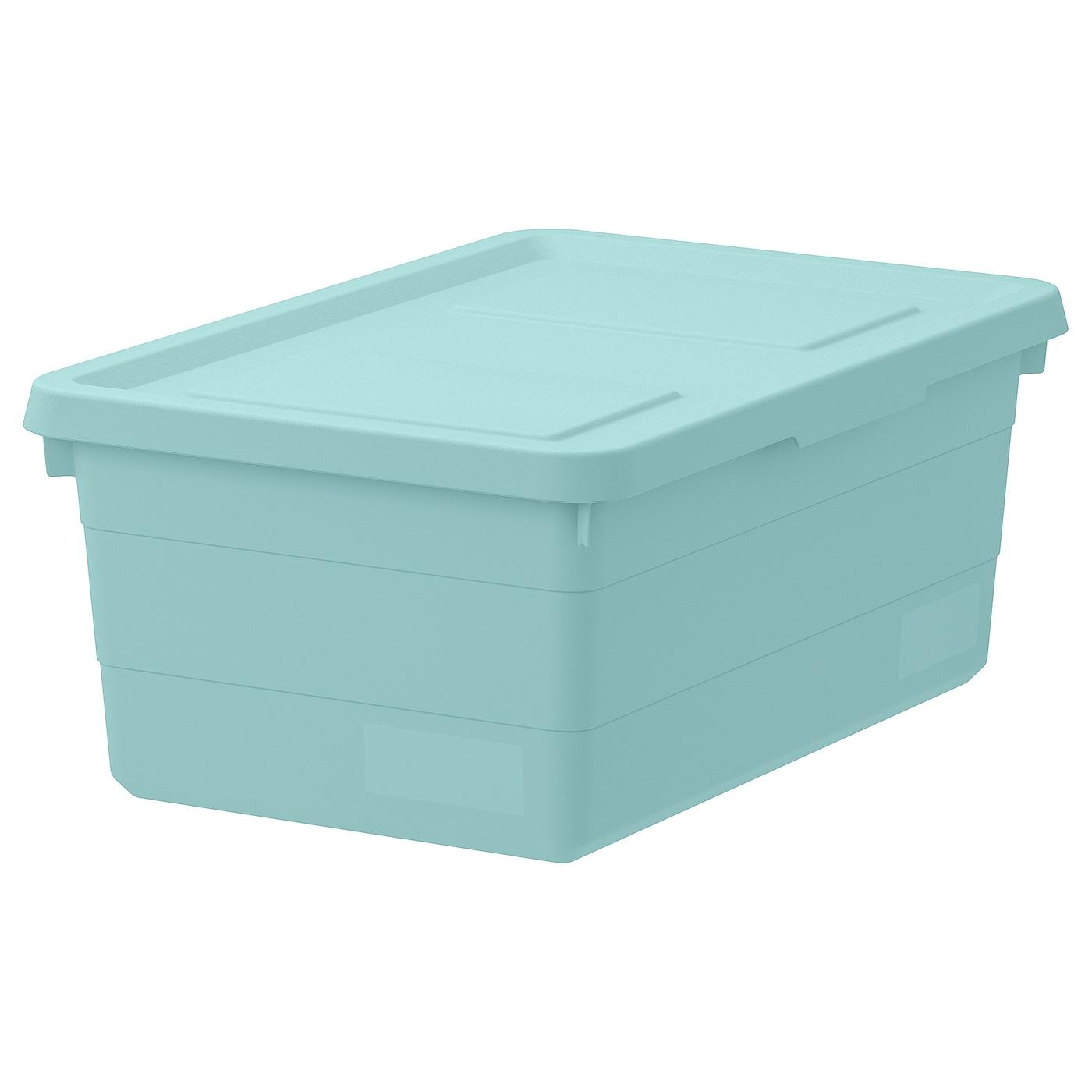 SOCKERBIT Storage box with lid, light blue - Buy online or in-store