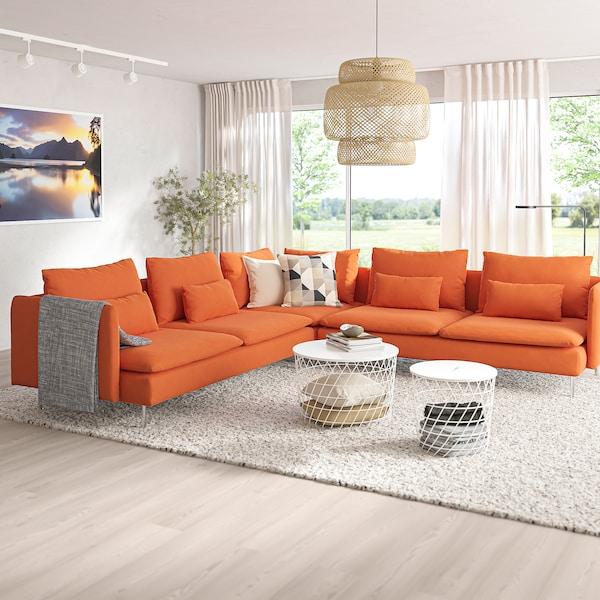 SÖDERHAMN Corner sofa, 6-seat - Samsta orange - IKEA