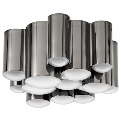SÖDERSVIK LED ceiling lamp, black/chrome-plated, 21 cm