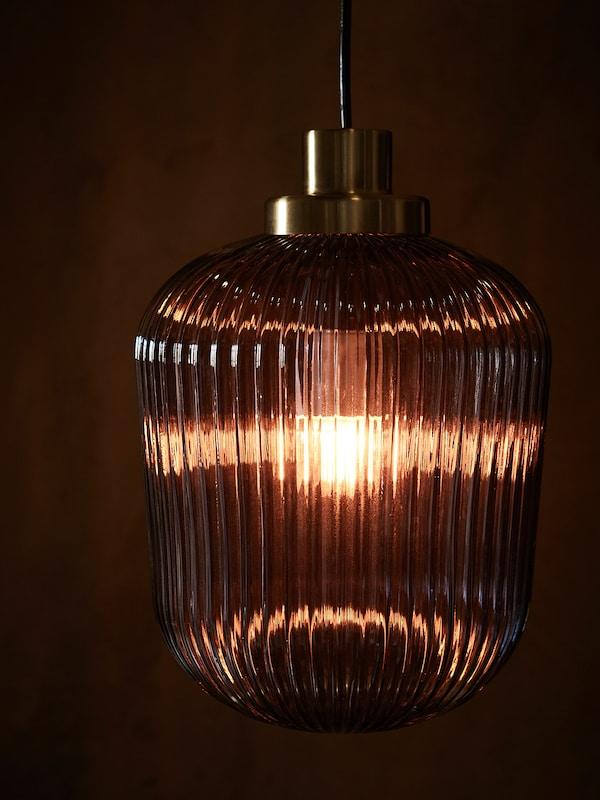 SOLKLINT Pendant lamp, brass/grey clear glass, 22 cm