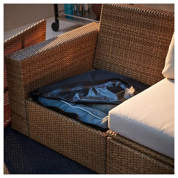 SOLLERÖN 2-seat modular sofa, outdoor, brown/Hållö beige, 161x82x82 cm
