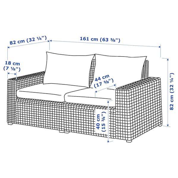 SOLLERÖN 2-seat modular sofa, outdoor, brown/Hållö black, 161x82x82 cm