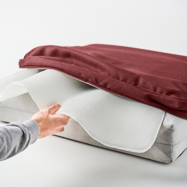 SOLLERÖN 2-seat modular sofa, outdoor, brown/Järpön/Duvholmen brown-red, 161x82x90 cm