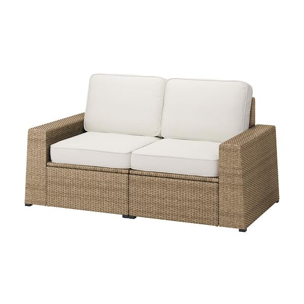 SOLLERÖN 2-seat modular sofa, outdoor, brown/Järpön/Duvholmen white, 161x82x90 cm