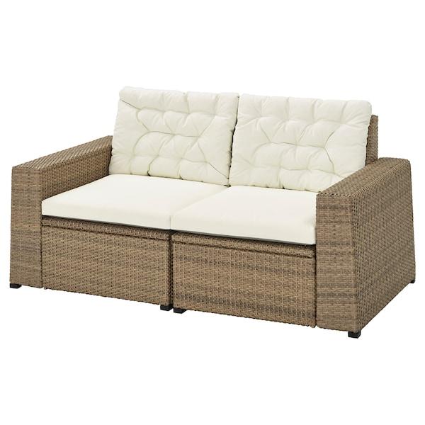SOLLERÖN 2-seat modular sofa, outdoor, brown/Kuddarna beige, 161x82x84 cm