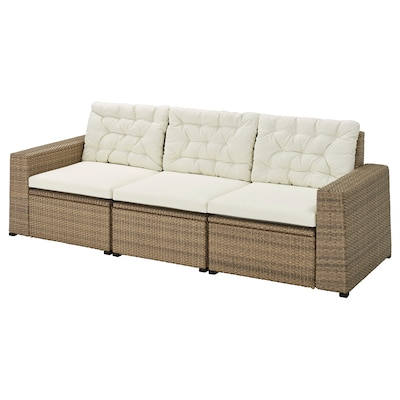 SOLLERÖN 3-seat modular sofa, outdoor, brown/Kuddarna beige, 223x82x84 cm