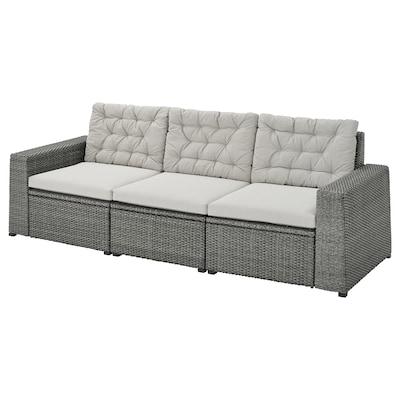 SOLLERÖN 3-seat modular sofa, outdoor, dark grey/Kuddarna grey, 223x82x84 cm