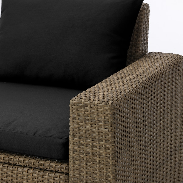 SOLLERÖN 3-seat modular sofa, outdoor, with footstool brown/Hållö black, 223x144x82 cm