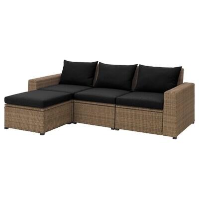 SOLLERÖN 3-seat modular sofa, outdoor with footstool brown/Hållö black 223 cm 144 cm 82 cm 187 cm 44 cm 40 cm