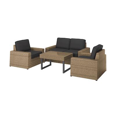 SOLLERÖN 4-seat conversation set, outdoor brown/Järpön/Duvholmen anthracite