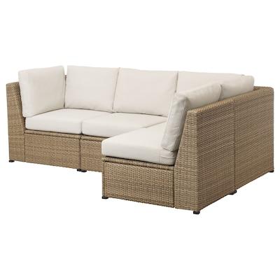SOLLERÖN modular corner sofa 3-seat, outdoor brown/Frösön/Duvholmen beige 85 cm 88 cm 144 cm 226 cm 48 cm 44 cm
