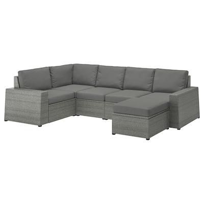 SOLLERÖN Modular corner sofa 4-seat, outdoor, with footstool dark grey/Frösön/Duvholmen dark grey